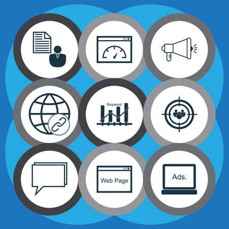 keywords link: Set Of 9 Advertising Icons. Includes Keyword Optimisation, Media Campaign, Report And Other Symbols. Beautiful Design Elements. Illustration