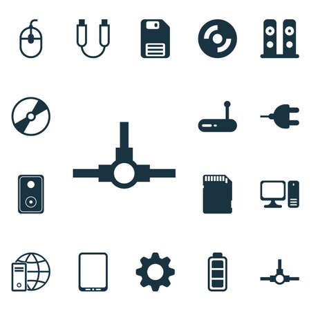 Set Of 16 Computer Hardware Icons. Includes Portable Memory, Router, Memory Card And Other Symbols. Beautiful Design Elements.