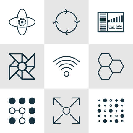 Set Of 9 Robotics Icons. Includes Wireless Communications, Recurring Program, Atomic Cpu And Other Symbols. Beautiful Design Elements. Illustration