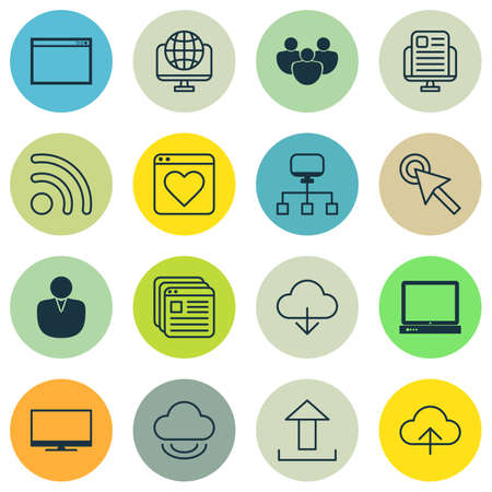 wap: Set Of 16 World Wide Web Icons. Includes Send Data, Followed Website, Cursor Tap And Other Symbols. Beautiful Design Elements.