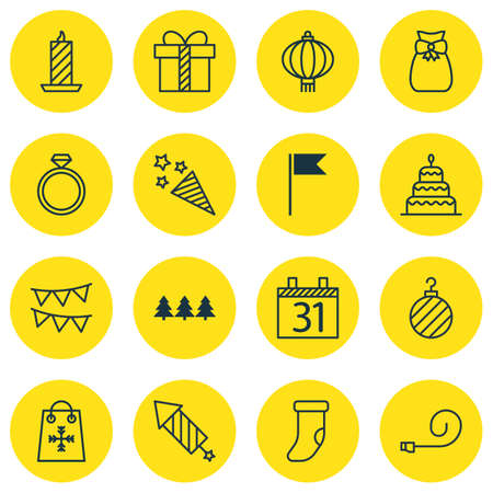 squib: Set Of 16 Celebration Icons. Includes Dessert, Fireplace Decoration, Decorative Flags And Other Symbols. Beautiful Design Elements.