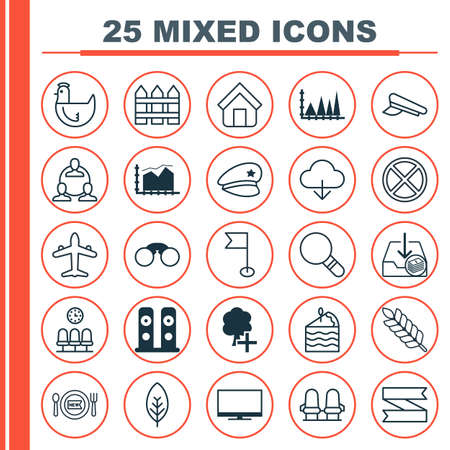 greenness: Set Of 25 Universal Editable Icons. Can Be Used For Web, Mobile And App Design. Includes Elements Such As Hen, Loudspeakers, Jet And More. Illustration