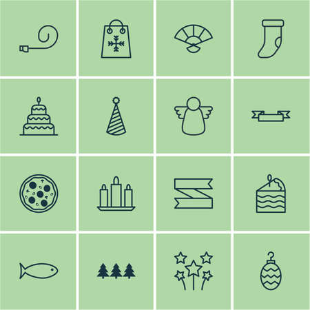 Set Of 16 Holiday Icons. Includes Festive Fireworks, Japan Souvenir, Holiday Ornament And Other Symbols. Beautiful Design Elements.