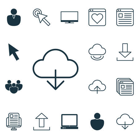 Set Of 16 Internet Icons. Includes Data Synchronize, Human, PC And Other Symbols. Beautiful Design Elements.