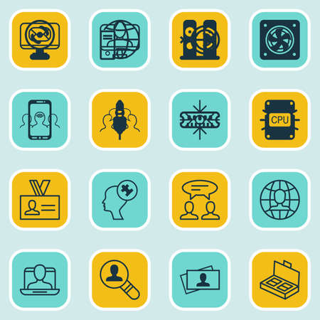 Set Of 16 Business Management Icons. Includes Arrow, Coaching, Cooperation And Other Symbols. Beautiful Design Elements.