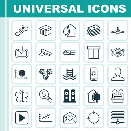 Set Of 25 Universal Editable Icons. Can Be Used For Web, Mobile And App Design. Includes Elements Such As House, Recurring Program, Dollar Banknote And More. Illustration