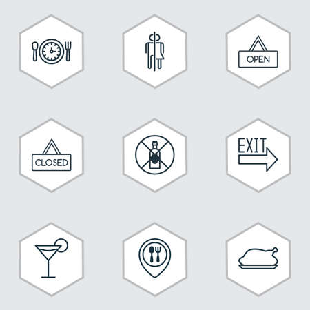 Set Of 9 Cafe Icons. Includes Closed Placard, Chicken Fry, Restroom And Other Symbols. Beautiful Design Elements.