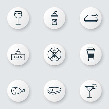 explicit: Set Of 9 Restaurant Icons. Includes Wineglass, Fried Poultry, Cocktail And Other Symbols. Beautiful Design Elements.