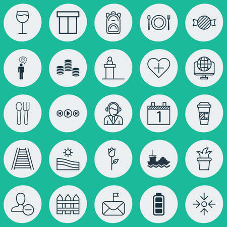 Set Of 25 Universal Editable Icons. Can Be Used For Web, Mobile And App Design. Includes Elements Such As Accumulator Sign, Barrier, Significant Letter And More.