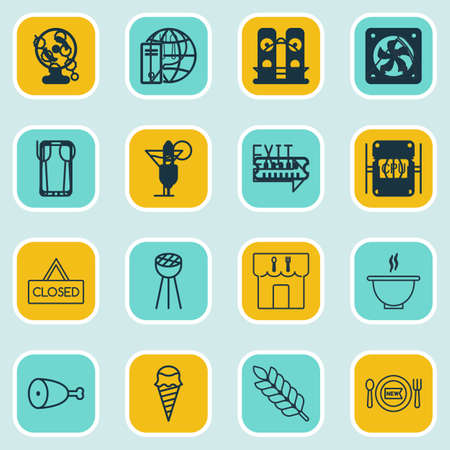 cook out: Set Of 16 Eating Icons. Includes Wheat, Fresh Dining, Stick Batbecue And Other Symbols. Beautiful Design Elements.
