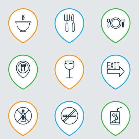 dependance: Set Of 9 Restaurant Icons. Includes Lemon Juice, Cutlery, Doorway And Other Symbols. Beautiful Design Elements.