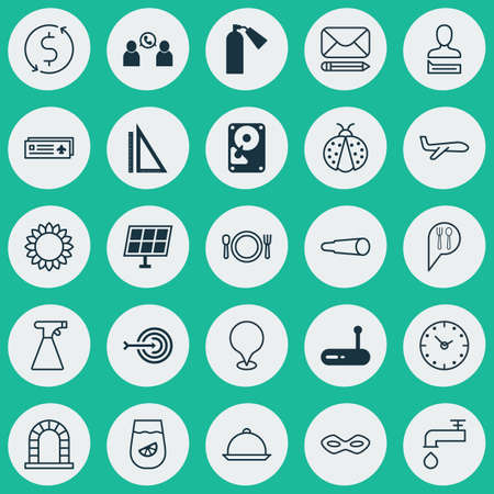 spigot: Set Of 25 Universal Editable Icons. Can Be Used For Web, Mobile And App Design. Includes Elements Such As Check In, Airport Card, Spigot And More. Illustration