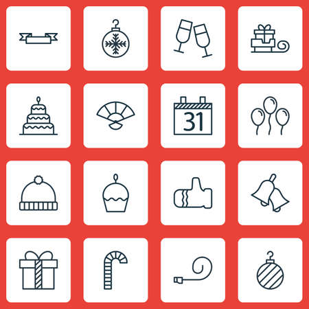 Set Of 16 New Year Icons. Includes Date, Gift, Celebrate Whistle And Other Symbols. Beautiful Design Elements.