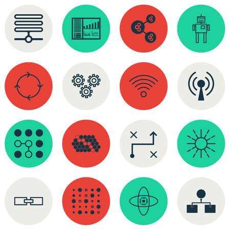 Set Of 16 Machine Learning Icons. Includes Solution, Cyborg, Algorithm Illustration And Other Symbols. Beautiful Design Elements.