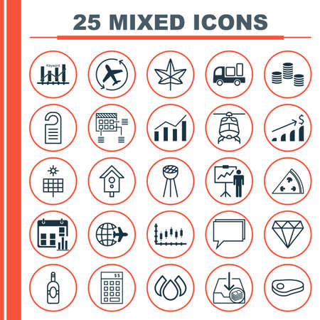 briefing: Set Of 25 Universal Editable Icons. Can Be Used For Web, Mobile And App Design. Includes Elements Such As Price, Presentation Date, Grill And More.