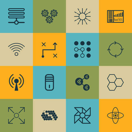 Set Of 16 Artificial Intelligence Icons. Includes Recurring Program, Solution, Lightness Mode And Other Symbols. Beautiful Design Elements.