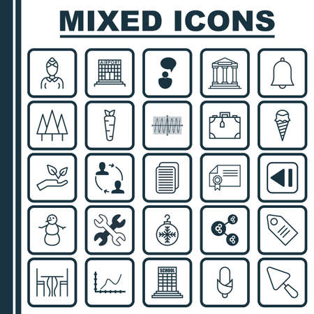 Set Of 25 Universal Editable Icons. Can Be Used For Web, Mobile And App Design. Includes Elements Such As Spanner, Winter, Save World And More. Illustration