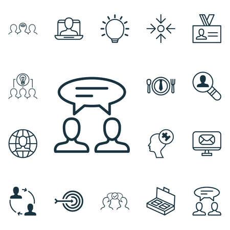 Set Of 16 Business Management Icons. Includes Business Aim, Human Mind, Document Suitcase And Other Symbols. Beautiful Design Elements.