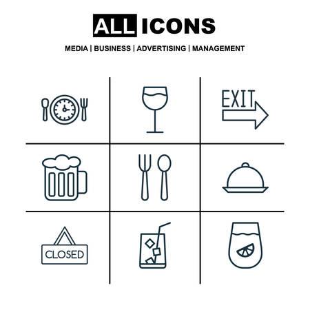 9 食事アイコンのセットです。食事の時間、閉じたプラカード、レモネード、他のシンボルが含まれています。美しいデザイン要素です。