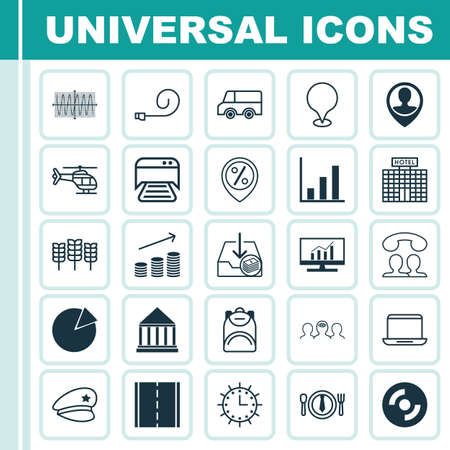 finance department: Set Of 25 Universal Editable Icons. Can Be Used For Web, Mobile And App Design. Includes Elements Such As Printed Document, Sun Clock, Discount Location And More. Illustration