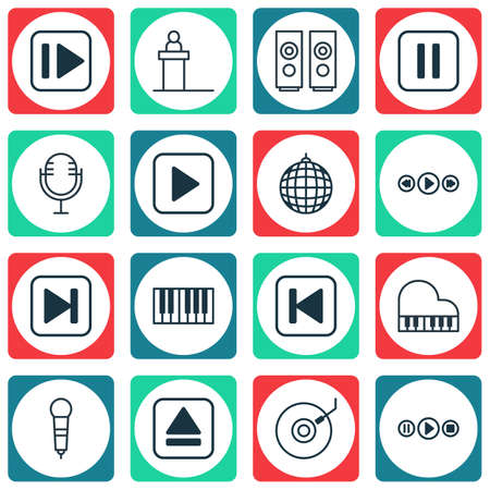 forte: Set Of 16 Music Icons. Includes Microphone, Piano, Sound Box And Other Symbols. Beautiful Design Elements.