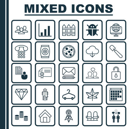 Set Of 25 Universal Editable Icons. Can Be Used For Web, Mobile And App Design. Includes Elements Such As Wireless Router, Pizza Meal, Fertilizer And More.