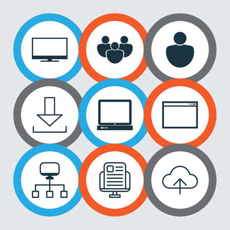 Set Of 9 World Wide Web Icons. Includes Local Connection, PC, Program And Other Symbols. Beautiful Design Elements.