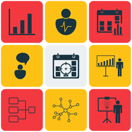 Set Of 9 Executive Icons. Includes Project Targets, Solution Demonstration, Project Presentation And Other Symbols. Beautiful Design Elements.