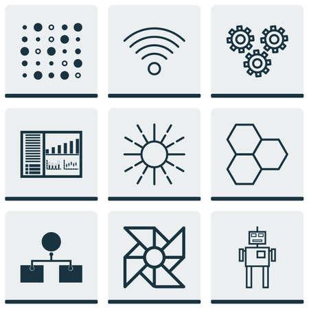 9 인공 지능 아이콘의 집합입니다. 밝기 모드, 사이보그, 정보 구성 요소 및 기타 기호가 포함되어 있습니다. 아름 다운 디자인 요소입니다.