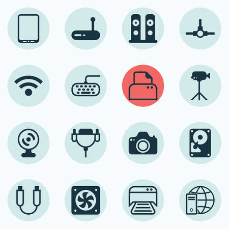 Set Of 16 Computer Hardware Icons. Includes Printed Document, Cellphone, Vga Cord And Other Symbols. Beautiful Design Elements. Illustration