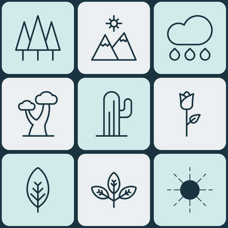 hot couple: Set Of 9 Nature Icons. Includes Rain, Love Flower, Forest And Other Symbols. Beautiful Design Elements.