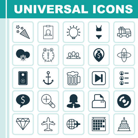 Set Of 25 Universal Editable Icons. Can Be Used For Web, Mobile And App Design. Includes Elements Such As File Scanner, Lorry Birthday, Job Applicants And More. Ilustração