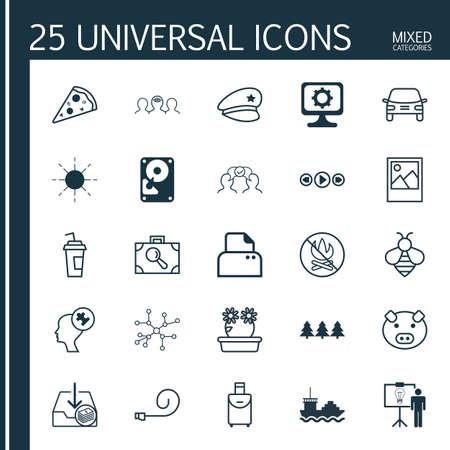 Ensemble de 25 icônes modifiables universelles. Peut être utilisé pour la conception Web, mobile et d'applications. Comprend des éléments tels que disque dur, automobile, recherche de bagages, etc.