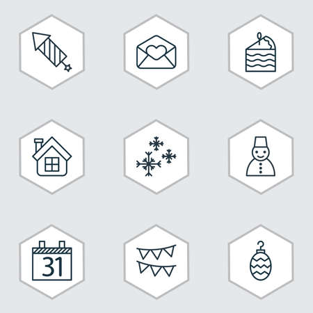 squib: Set Of 9 Holiday Icons. Includes Date, Greeting Email, Residential And Other Symbols. Beautiful Design Elements.