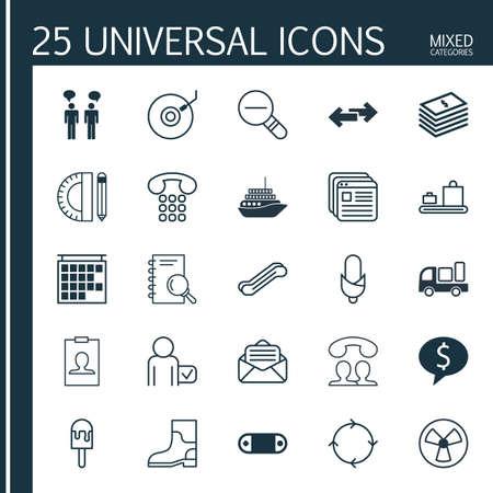 25 ユニバーサル編集可能なアイコンのセットです。Web、モバイル、アプリの設計に使用できます。出発情報、手荷物カルーセル、キャンディーなど
