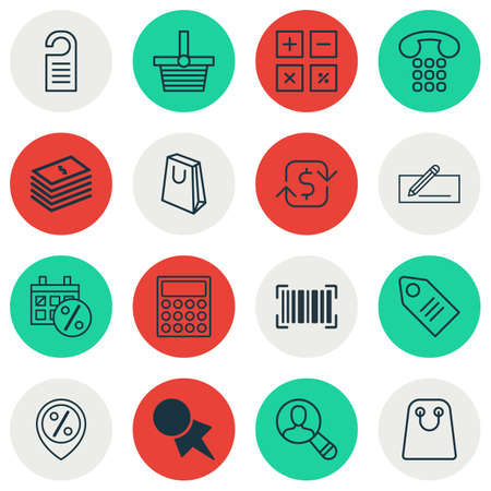 Set Of 16 E-Commerce Icons. Includes Identification Code, Money Transfer, Calculator And Other Symbols. Beautiful Design Elements. Ilustrace