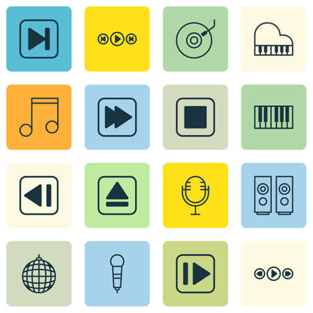 pause button: Set Of 16 Multimedia Icons. Includes Note, Sound Box, Audio Buttons And Other Symbols. Beautiful Design Elements.