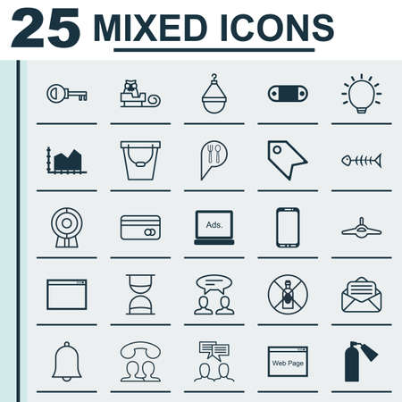 Set Of 25 Universal Editable Icons. Can Be Used For Web, Mobile And App Design. Includes Elements Such As Website, Sequence Graphics, Password And More. Ilustração