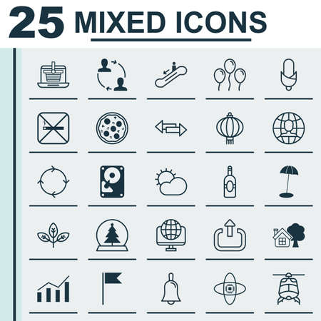 Set Of 25 Universal Editable Icons. Can Be Used For Web, Mobile And App Design. Includes Elements Such As Computer Network, Ranch Home, Magic Sphere And More.