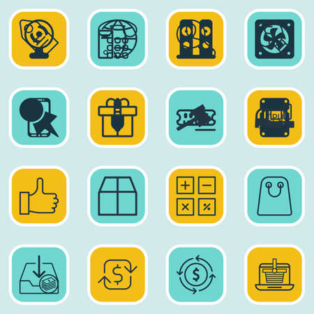 pager: Set Of 16 Ecommerce Icons. Includes Finance, Present, Tote Bag And Other Symbols. Beautiful Design Elements. Illustration