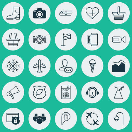 Set Of 25 Universal Editable Icons. Can Be Used For Web, Mobile And App Design. Includes Elements Such As Pannier, Video Camcorder, Lamppost And More. Illustration