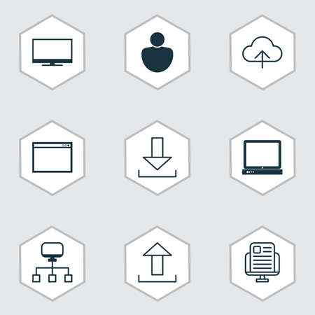 wap: Set Of 9 Web Icons. Includes Display, Program, Send Data And Other Symbols. Beautiful Design Elements.