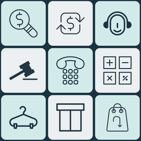 pager: Set Of 9 Commerce Icons. Includes Refund, Callcentre, Employee And Other Symbols. Beautiful Design Elements.