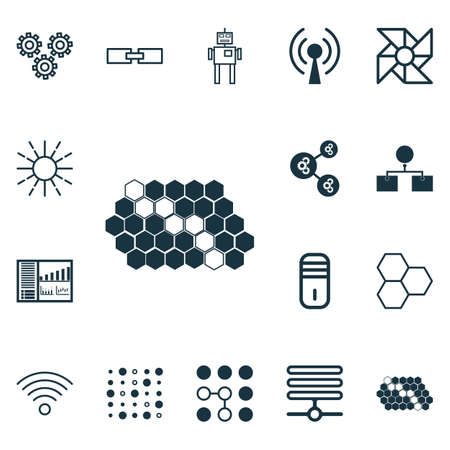 Set Of 16 Artificial Intelligence Icons. Includes Variable Architecture, Algorithm Illustration, Information Components And Other Symbols. Beautiful Design Elements. Illustration