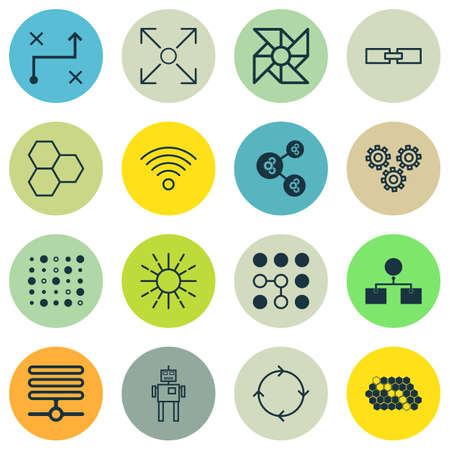 Set Of 16 Robotics Icons. Includes Information Components, Cyborg, Hive Pattern And Other Symbols. Beautiful Design Elements. Illustration