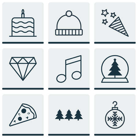 squib: Set Of 9 Celebration Icons. Includes Tree Toy, Crotchets, Firecracker And Other Symbols. Beautiful Design Elements.