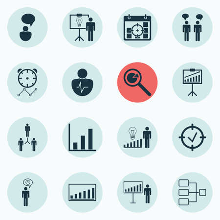 Set Of 16 Administration Icons. Includes Report Demonstration, Personal Character, System Structure And Other Symbols. Beautiful Design Elements. Ilustração Vetorial