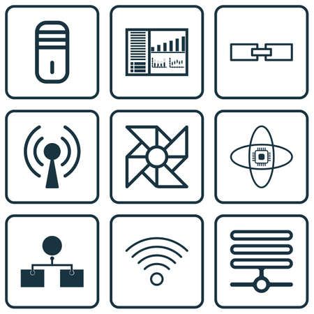 airflow: Set Of 9 Robotics Icons. Includes Atomic Cpu, Controlling Board, Laptop Ventilator And Other Symbols. Beautiful Design Elements. Illustration