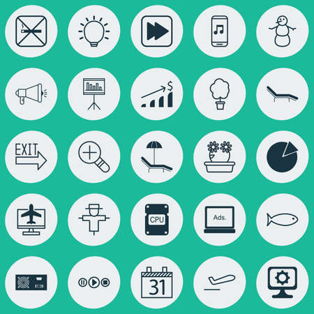 Set Of 25 Universal Editable Icons. Can Be Used For Web, Mobile And App Design. Includes Elements Such As PC, Cpu, Successful Investment And More. Illustration