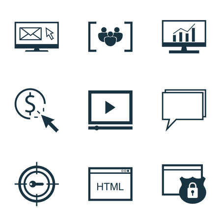 briefing: Set Of 9 Marketing Icons. Includes Conference, Market Research, Coding And Other Symbols. Beautiful Design Elements.